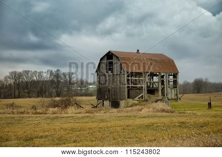 Abandoned barn in a field in Ontario, Canada