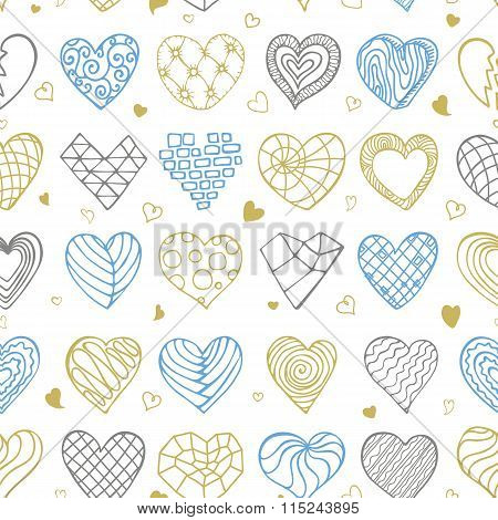 Hand drawing hearts doodle seamless pattern.Outline