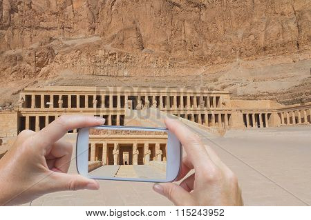 Taking Pictures By Smart Phone In Hatsepsut Temple (egypt)