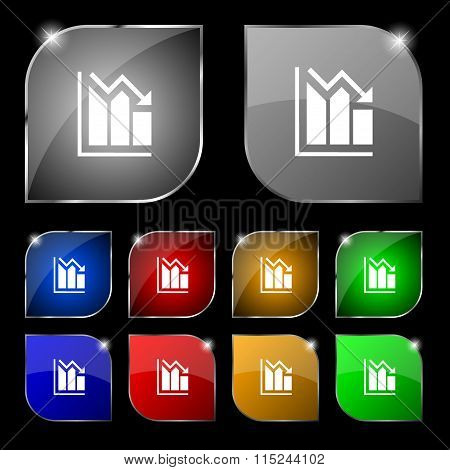 Histogram Icon Sign. Set Of Ten Colorful Buttons With Glare.