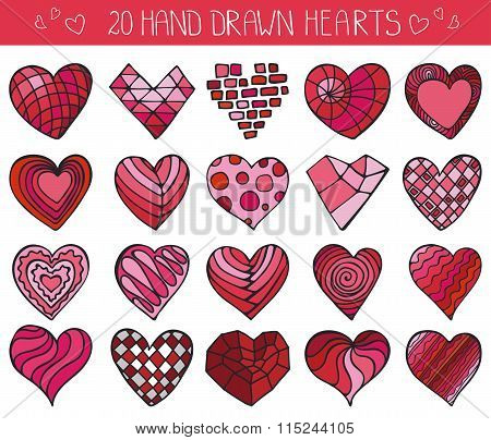 Hand drawing hearts doodle set.Colored geometric decor