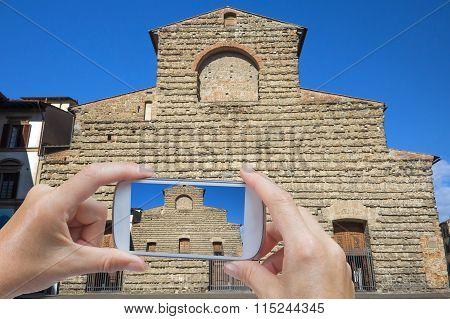Taking Pictures Of Sagrestia Vecchia In Florence (italy)