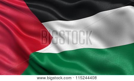 Flag of Palestine waving in the wind