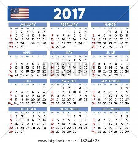2017 Squared Calendar English