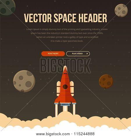 Flat rocket header background image.