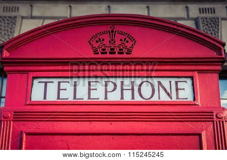 LONDON, UNITED KINGDOM - JANUARY, 2016: Iconic red phone box in Central London
