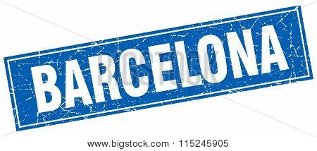 Barcelona blue square grunge vintage isolated stamp