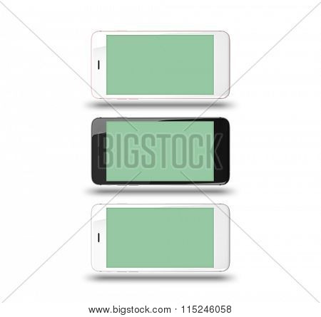 Smart phones isolated on white background. With clipping paths for their displays.