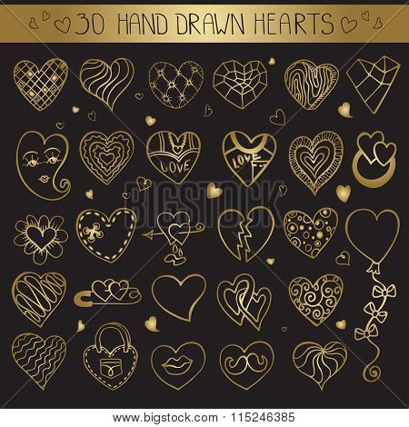 Hearts hand drawing doodle set.Gold decoration