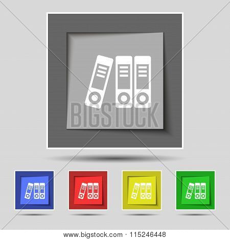 Binders  Icon Sign On Original Five Colored Buttons.