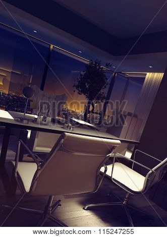 Dimly lit empty luxury home office interior with a desk and chairs overlooking city lights at night. 3d rendering