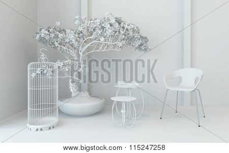 Monochromatic corner decoration in a classic interior with an empty bird cage, potted plant chair and small nest of tables in cool white. 3d Rendering.