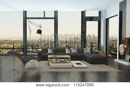 Contemporary living room interior in an urban apartment with a comfortable sofa unit in front of panoramic view windows overlooking the city with outdoor patio. 3d Rendering.