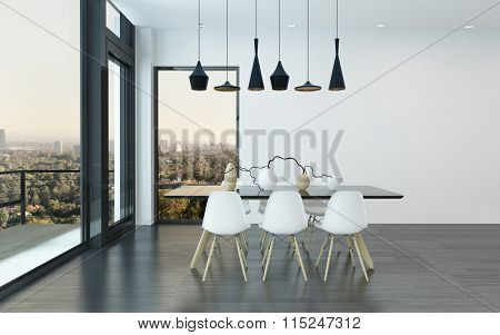 Contemporary dining corner in a living room with four stylish overhead lights above a table and chairs with huge view windows overlooking the city. 3d Rendering.
