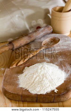 flour on the kitchen table