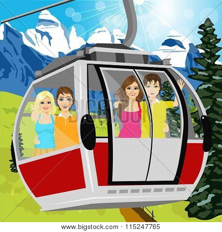 cable car or booth carrying passengers in the mountains in summertime