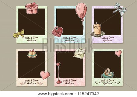 Design wedding frame. Decorative photo frames for valentine's day. Vecotr illustration