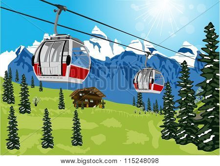 wonderful summer scenery with ski lift cable booth or car