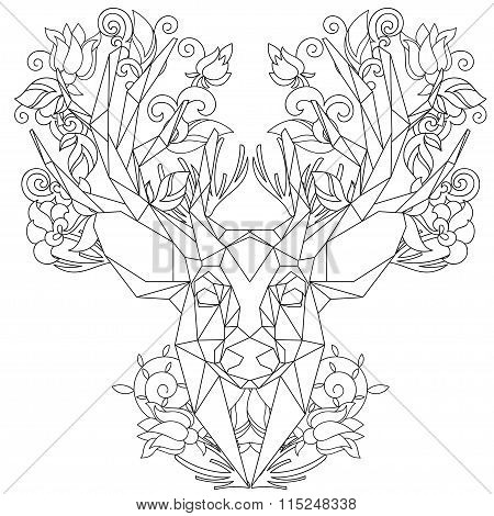 Front view of animal head triangular icon deer