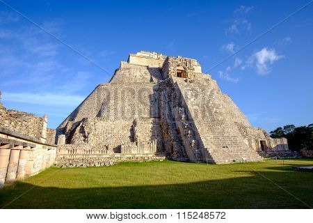 Scenic View Of Prehistoric Mayan Pyramid In Uxmal
