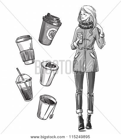 Girl Having A Snack. Take Away Coffee.