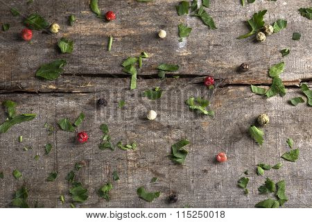 Herbs Background On Wood