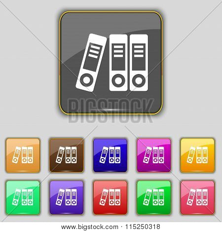 Binders  Icon Sign. Set With Eleven Colored Buttons For Your Site.