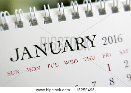 Close up calendar of January 2016