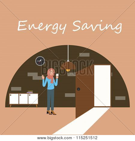 energy saving electricity switch off lamp turnght