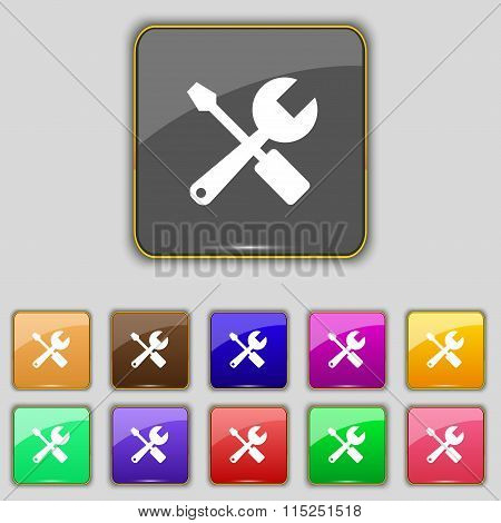 Wrench And Screwdriver Icon Sign. Set With Eleven Colored Buttons For Your Site.
