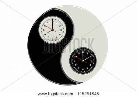 Wall Clock With Yin Yang Symbol