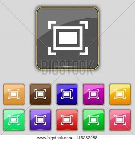 Crops And Registration Marks Icon Sign. Set With Eleven Colored Buttons For Your Site.