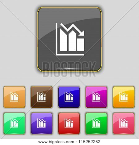 Histogram Icon Sign. Set With Eleven Colored Buttons For Your Site.