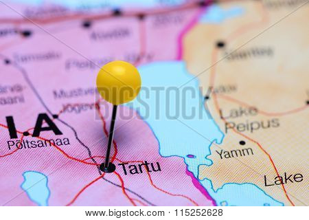 Tartu pinned on a map of Estonia
