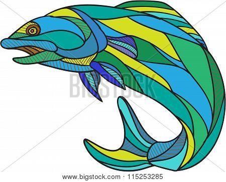 Atlantic Salmon Jumping Drawing