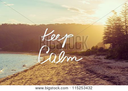 Handwritten Text Over Sunset Beach Background