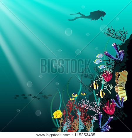 Coral reef with various species of fish and silhouette of diver over blue sea background