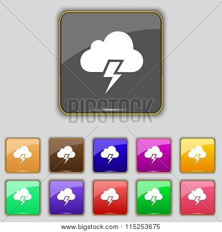 Heavy Thunderstorm Icon Sign. Set With Eleven Colored Buttons For Your Site.