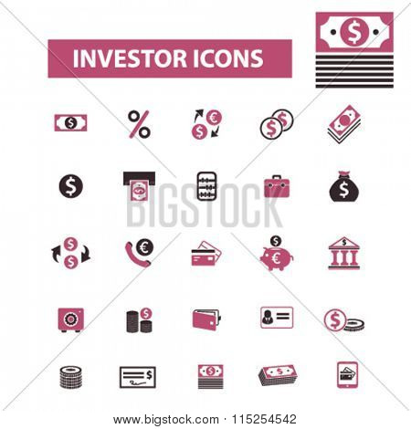 investor, investment  icons, signs vector concept set for infographics, mobile, website, application