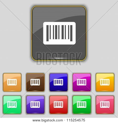 Barcode Icon Sign. Set With Eleven Colored Buttons For Your Site.