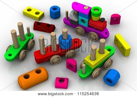 The constructor toy. Wooden toy train