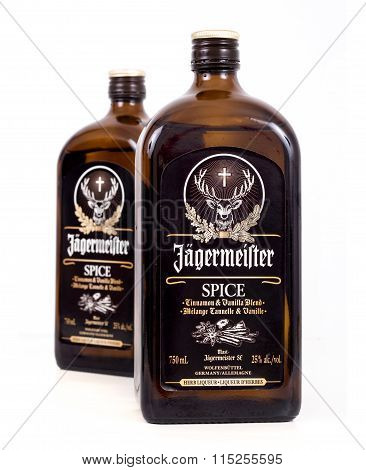 Jagermeister Spice Bottle Over White Background