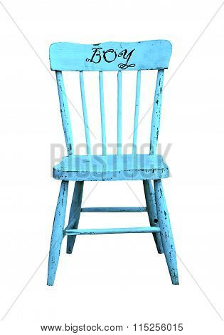 Vintage childs blue wooden chair