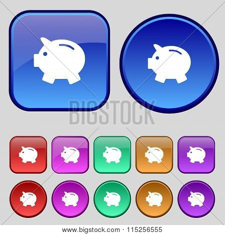 Piggy Bank - Saving Money Icon Sign. A Set Of Twelve Vintage Buttons For Your Design.