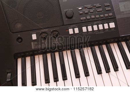 Keys Electronic Musical Instrument Close-up. Music