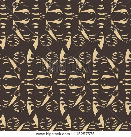 Seamless Ancient Pattern In Shades Of Brown With Striped Circles.