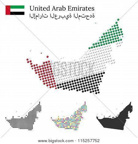 United Arab Emirated flag and maps