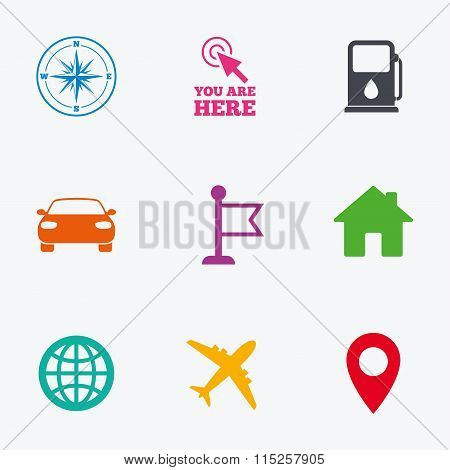 Navigation, gps icons. Windrose, compass signs.