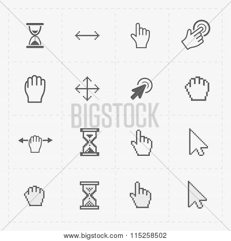 Pixel cursors icons on white.Vector Illustration.