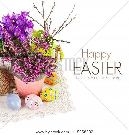 Easter still life with eggs and spring flowers. Isolated on white background